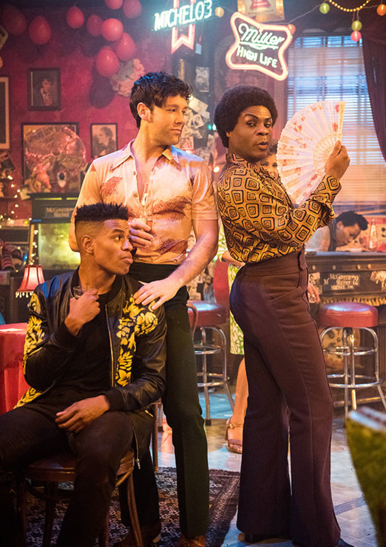 """(L-R) Jeremy Pope, Taylor Frey and Nathan Lee Graham in """"The View Upstairs"""" at the Lynn Redgrave Theater in New York, NY"""