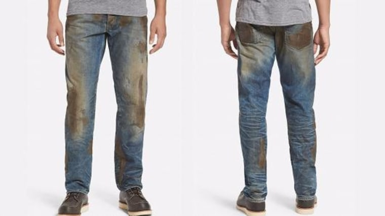 "Nordstrom is selling muddy jeans for $425, calling them ""Americana workwear that's seen some hard-working action."""