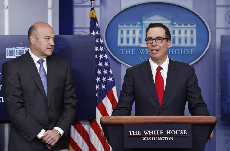 Image: Steven Mnuchin, Gary Cohn at White House Press Briefing
