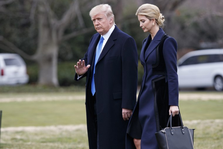 Image: President Donald Trump, accompanied by his daughter Ivanka, waves as they walk to board Marine One on the South Lawn of the White House in Washington, D.C. Feb. 1, 2017.