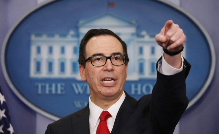 Image: Secretary of the Treasury Mnuchin discusses Trump administration's tax reform proposal at the White House in Washington