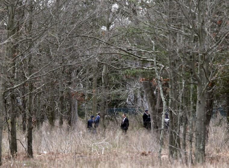Image: Crime scene investigators search woodland near where the victims were found