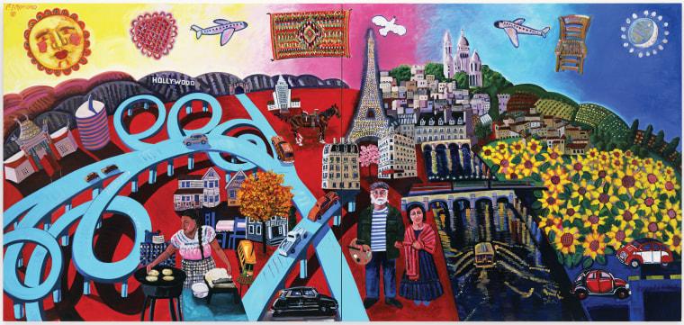Frank Romero (U.S., b. 1941) Le Monde,2006 Oil on canvas, 7 ½ x 16 ft.