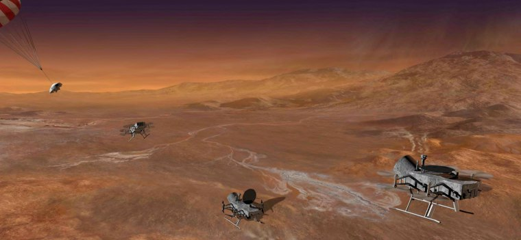 Dragonfly would land on the surface of Saturn's moon Titan and then could fly from point to point on the moon's surface and settle to investigate and recharge.