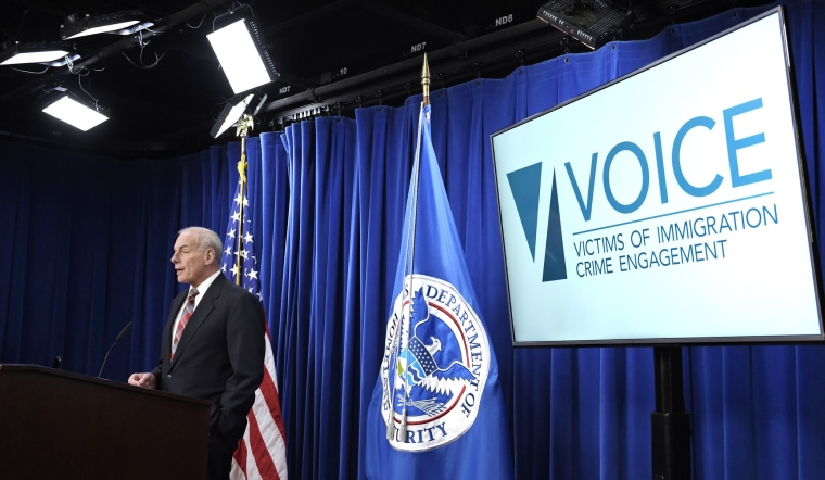 Image: Homeland Security Secretary John Kelly announces the opening of new Victims of Immigration Crime Engagement