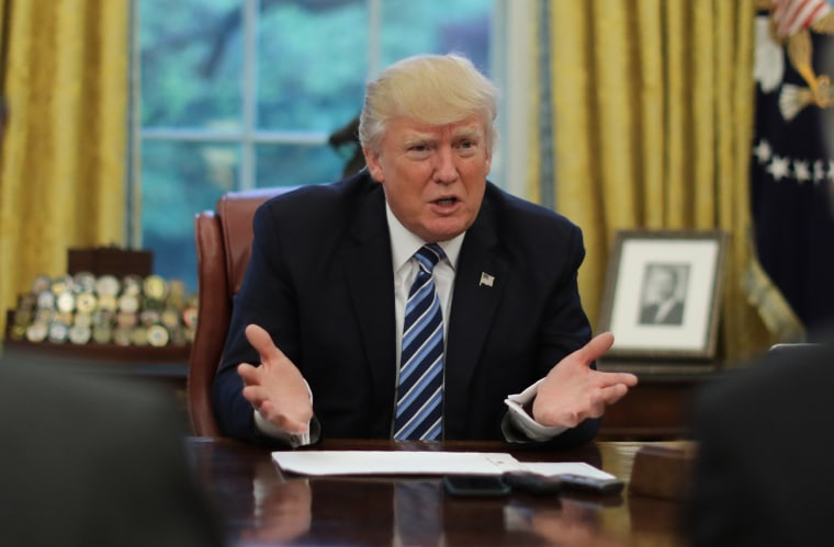 Image:  President Trump speaks during a Reuters interview in the Oval Office at the White House in Washington