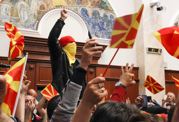 Image: Protesters entered Macedonia's parliament in Skopje