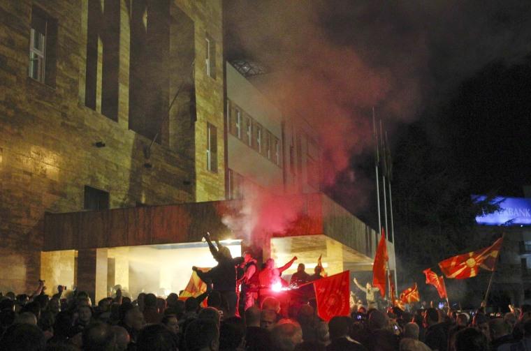 Image: Demonstrators storm into Macedonia's parliament in Skopje