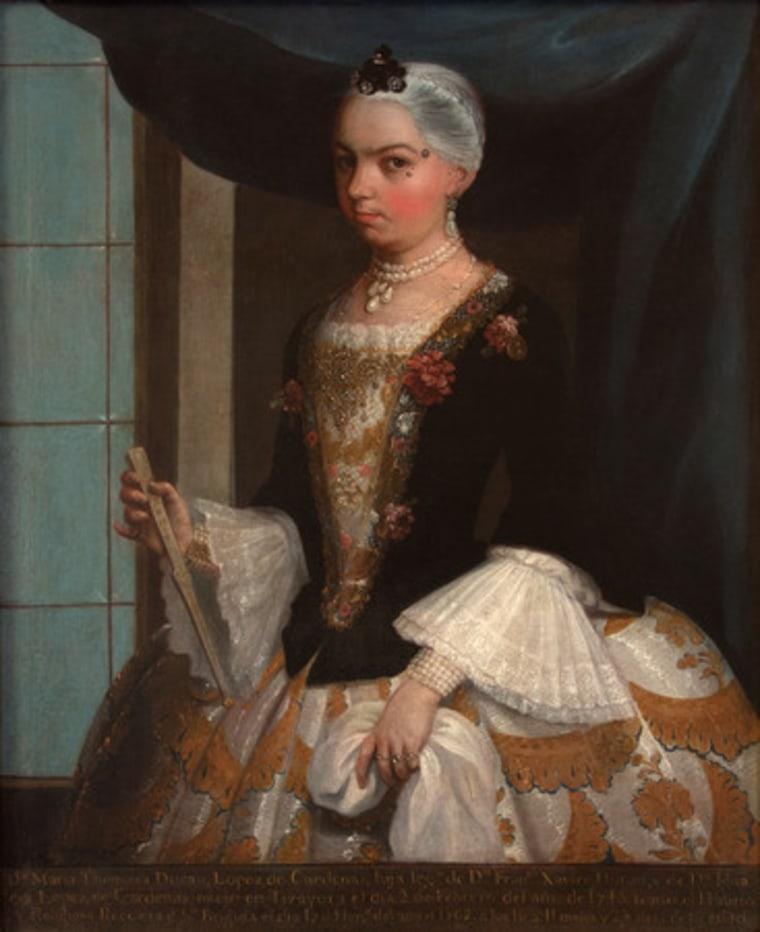 Juan Patricio Morlete Ruiz, Portrait of Dona Tomasa Duran Lopez de Cardenas c. 1762, Oil on canvas, 40 3/16 x 33 1/16 in. (102 x 84 cm),