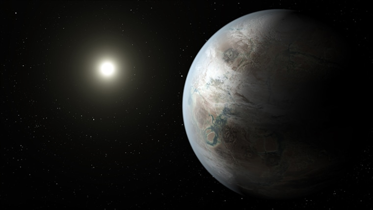 An artist's conception of planet Kepler-452b, the first near-Earth-sized world to be found in the habitable zone of a star that is similar to our sun.