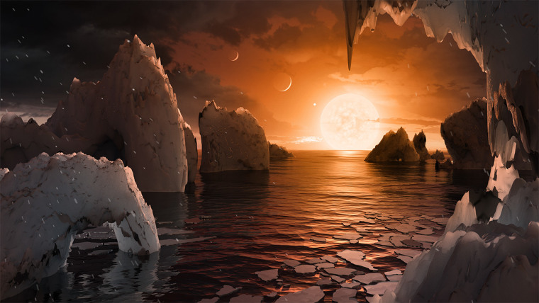 This artist's concept is one interpretation of what it could look like to be standing on the surface of the exoplanet TRAPPIST-1f.