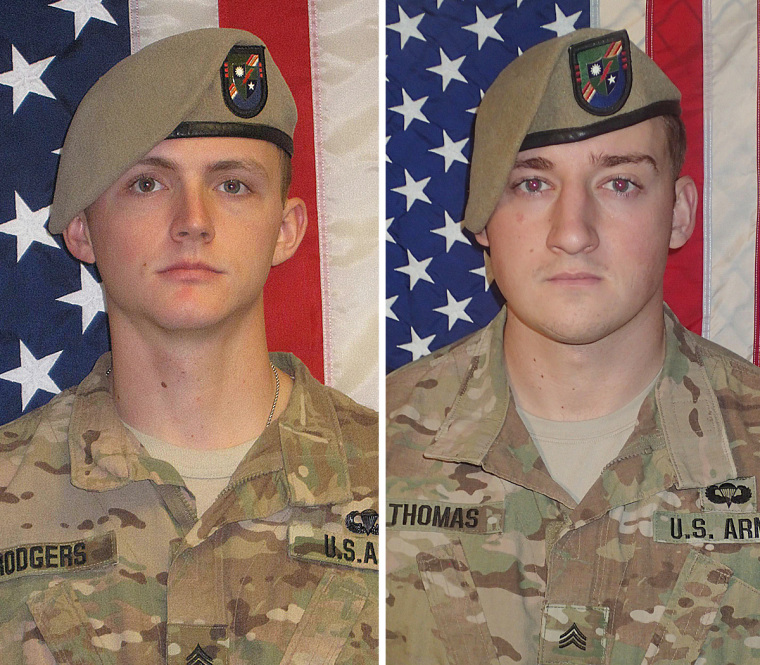 Sgt. Joshua P. Rodgers, left, and Sgt. Cameron H. Thomas were killed while conducting combat operations in Nangarhar Province, Afghanistan.