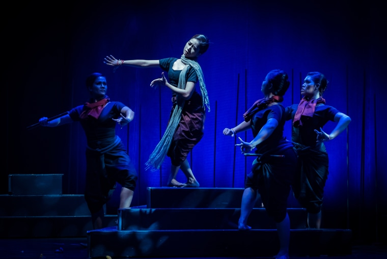 """Dancers from the Sophiline Arts Ensemble in a performance of """"Phka Sla Krom Angkar."""""""
