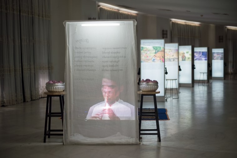 """An exhibit on the Cambodian genocide accompanying """"Phka Sla Krom Angkar"""""""