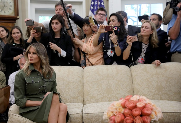 Image: First Lady Melania Trump Watches as President Trump Meets With Argentine President Mauricio Macri in The Oval Office