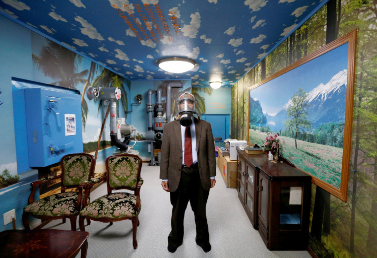 Image: Man Poses Wearing a Gas Mask in a Model Nuclear Shelter in the Basement of his House in Osaka