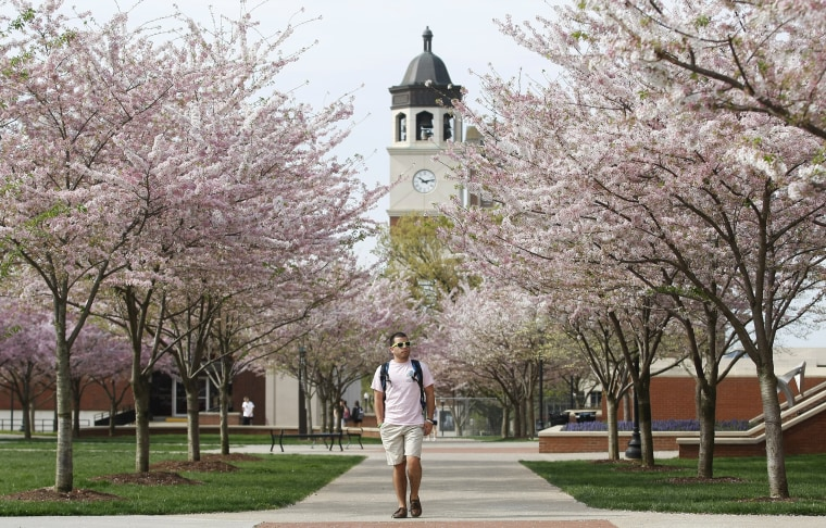 Image: A student walks on Western Kentucky University's campus