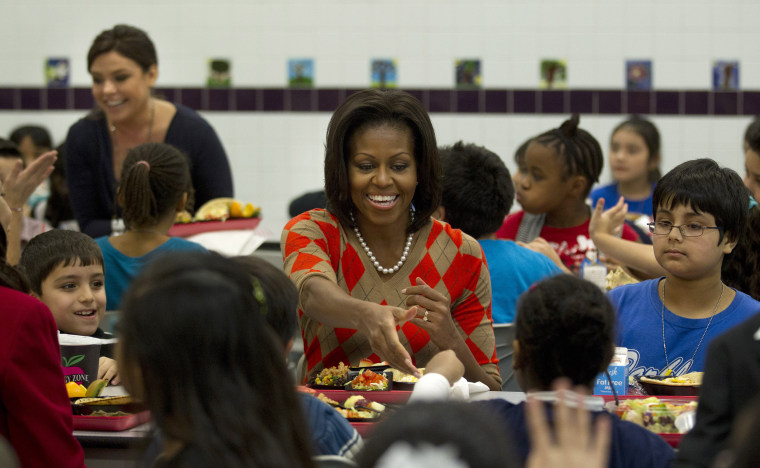 Image: Michelle Obama has lunch with school children at Parklawn Elementary School in Alexandria