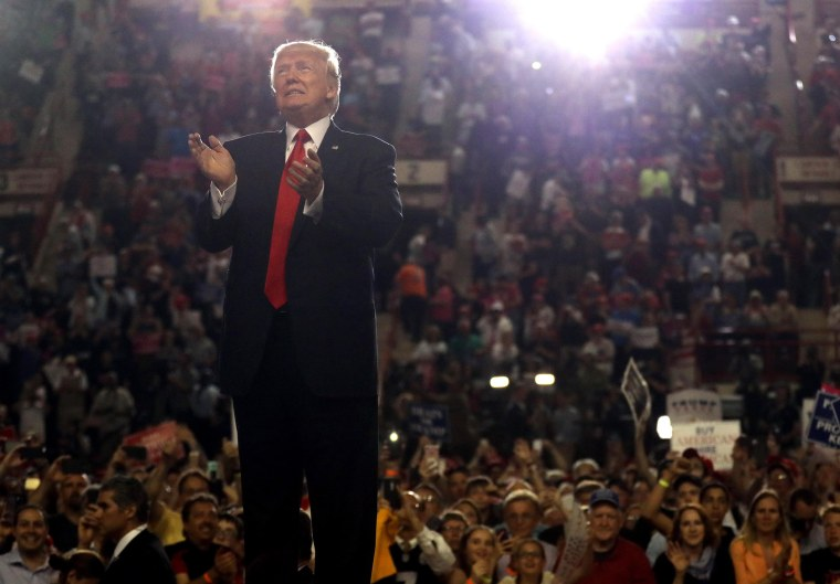Image: U.S. President Donald Trump leads a rally marking his first 100 days in office in Harrisburg