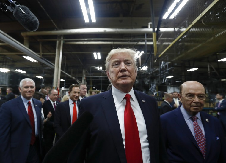 Image: President Donald Trump tours The AMES Companies, Inc., in Harrisburg, Pa., with Vice President Mike Pence and Wilbur Ross United States Secretary of Commerce, April, 29, 2017.