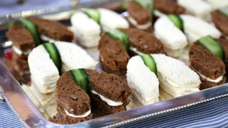 Horseshoe-shaped tea sandwiches