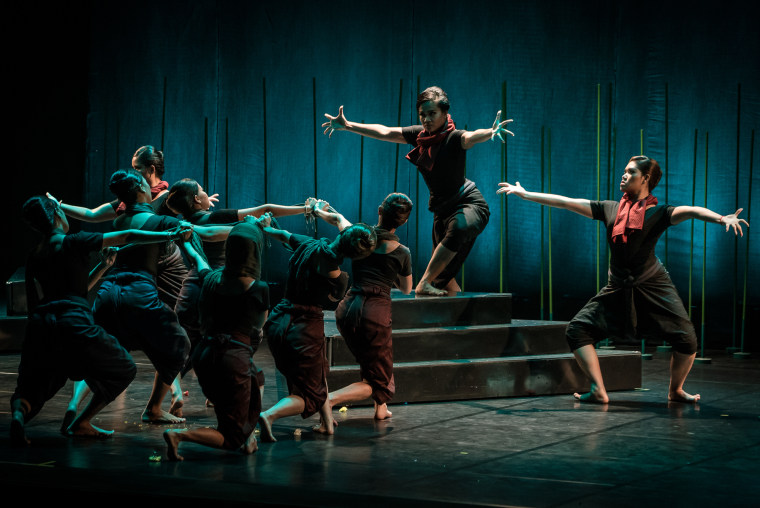 """Dancers from the Sophiline Arts Ensemble perform """"Phka Sla Krom Angkar,"""" a piece about forced marriages in Cambodia during the rule of the Khmer Rouge."""
