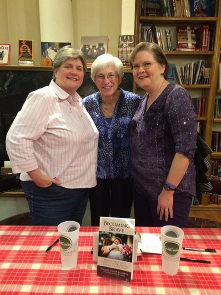 Sharon (left) and Mary (right) Bishop-Baldwin with Shirley Wunder (center) at a book signing March 2, 2017, at Full Circle Bookstore in Oklahoma City. Wunder and her wife of two years had been together for 46 years before they were allowed to legally marry in Oklahoma.