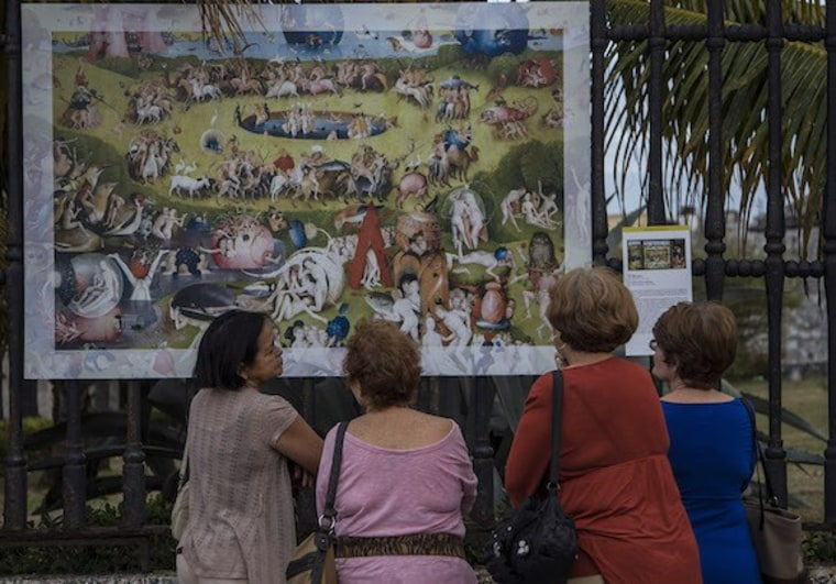 "Cathedral Park in Santa Fe, New Mexico, will host a free outdoor gallery featuring reproductions of master works from the Prado Museum in Madrid, including Hieronymus Bosch's ""The Garden of Earthly Delights."""
