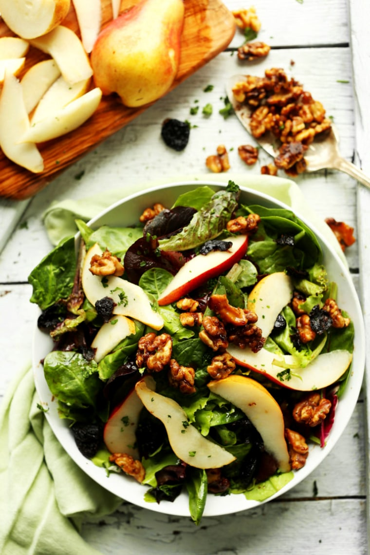 Image: EASY Salad with Pears Dried Cherries and Candied Walnuts Vegan glutenfree salad recipe healthy summer