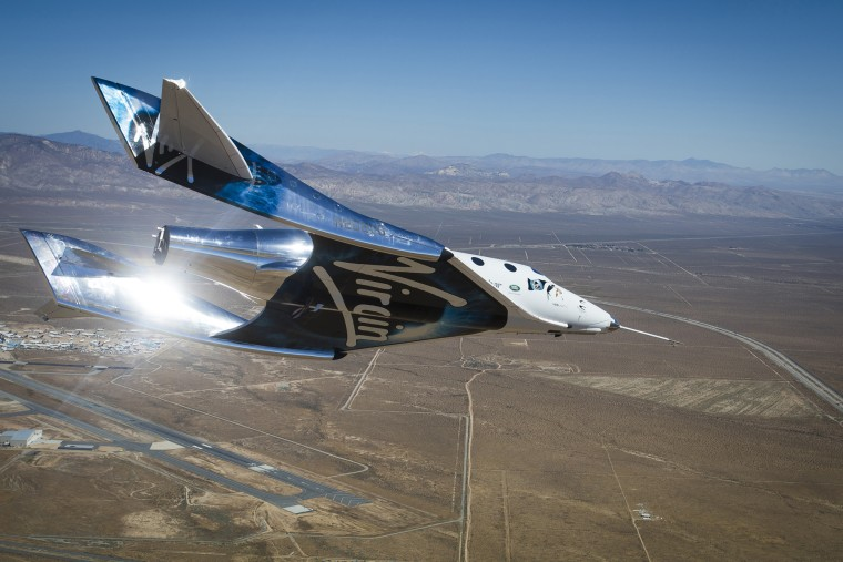 VSS Unity gliding home after activating the feather re-entry system for the first time