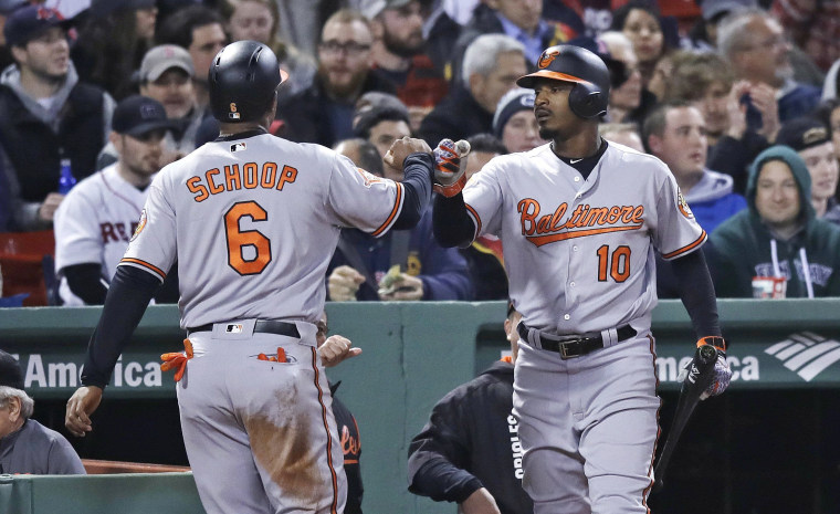 Image: Baltimore Orioles Jonathan Schoop and Adam Jones