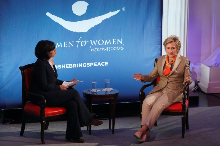 Image: Former U.S. Secretary of State Hillary Clinton takes part in the Women for Women International Luncheon in New York
