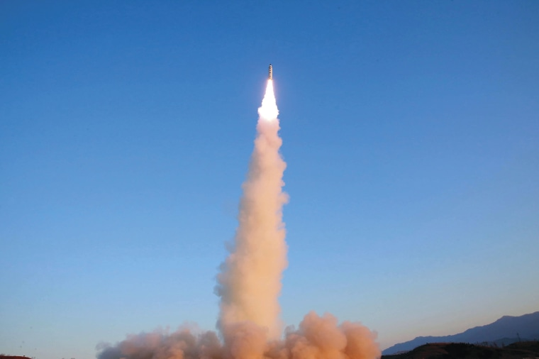 A Pukguksong-2 missile is launched at an undisclosed location in North Korea on Feb. 12.