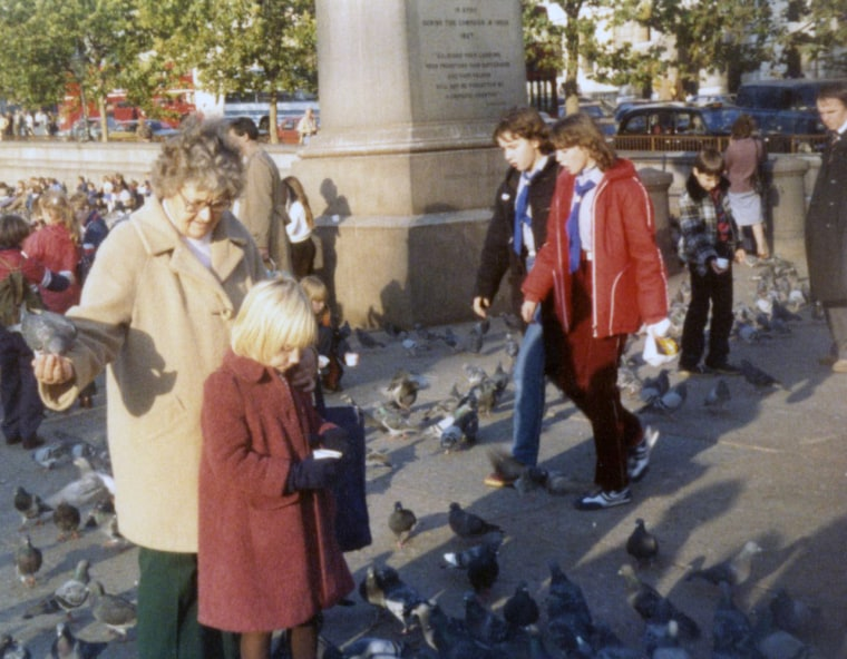 Andrea Canning with her grandmother in Trafalgar Square in 1981.