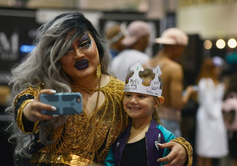 Attendees seen during the 3rd Annual RuPaul's DragCon at the Los Angeles Convention Center on April 30, 2017