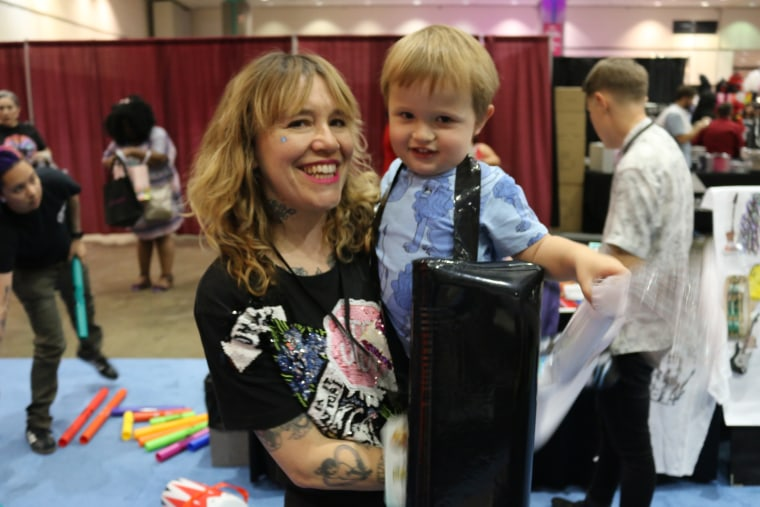 Michelle Tea and her son at RuPaul's DragCon in Los Angeles