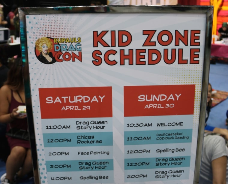A Kid Zone sign at RuPaul's DragCon in Los Angeles