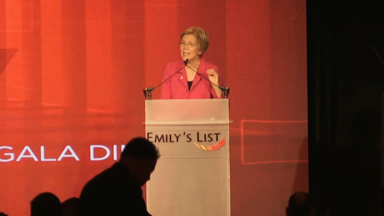 Image: Senator Elizabeth Warren (D-MA) speaks at an Emily's List event on May 3, 2017 in Washington