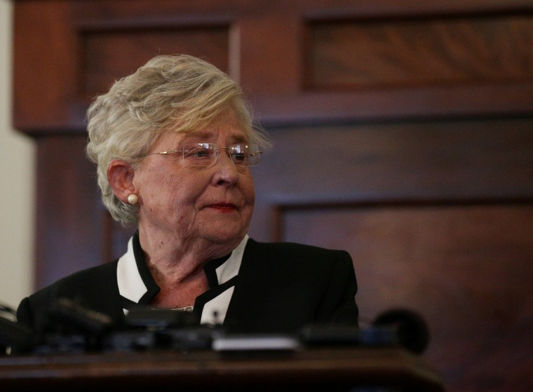 Image: Alabama Lt Governor Kay Ivey speaks to the media after being sworn in as Alabama's new governor