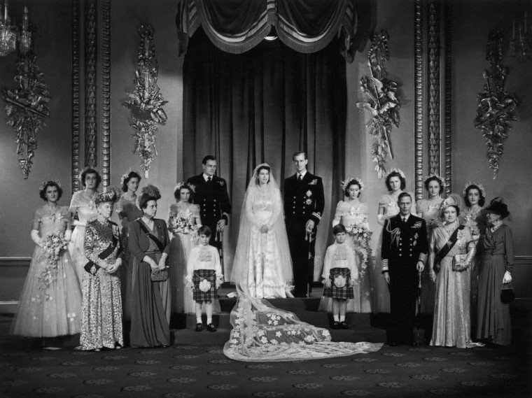 Image: Elizabeth and Philip pose with members of the royal family at Buckingham Palace after their wedding on Nov. 20, 1947.