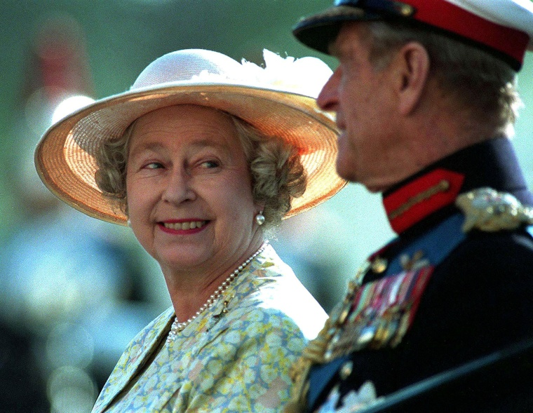 Image: FILE PHOTO -  File photo of Queen Elizabeth II and Prince Philip attending the Beating the Retreat ceremony on Horseguards Parade