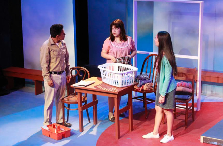Angel Leonel Gutierrez, Valeria Flores, Angel Marie Galvan in Simply Maria or The American Dream by Josefina Lopez presented by CASA 0101 Theater - April 28-May 14, 2017