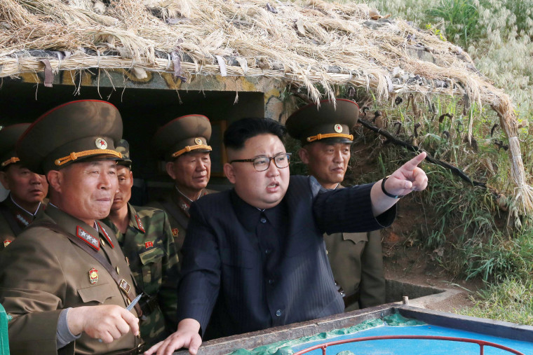 Image: North Korean leader Kim Jong Un inspects the defence detachment on Jangjae Islet and the Hero Defence Detachment on Mu Islet located in the southernmost part of the waters off the southwest front, in this undated photo released by North Korea's KCN