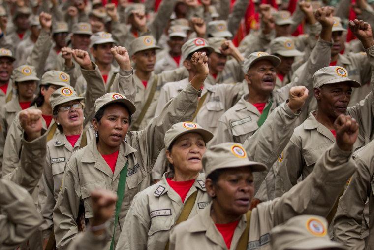 Image: Members of the Venezuelan National Bolivarian Militia march to commemorate their seventh anniversary in Caracas, Venezuela, April 17, 2017.