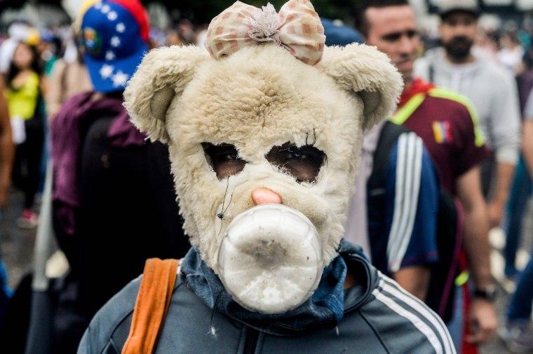 Image: Venezuelan opposition activists on April 13, 2017.