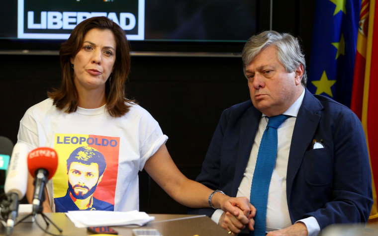 Image: Leopoldo Lopez, father of Venezuela's jailed opposition leader Leopoldo Lopez, and his daughter Diana Lopez, look on during a news conference in Madrid, Spain, May 5, 2017.