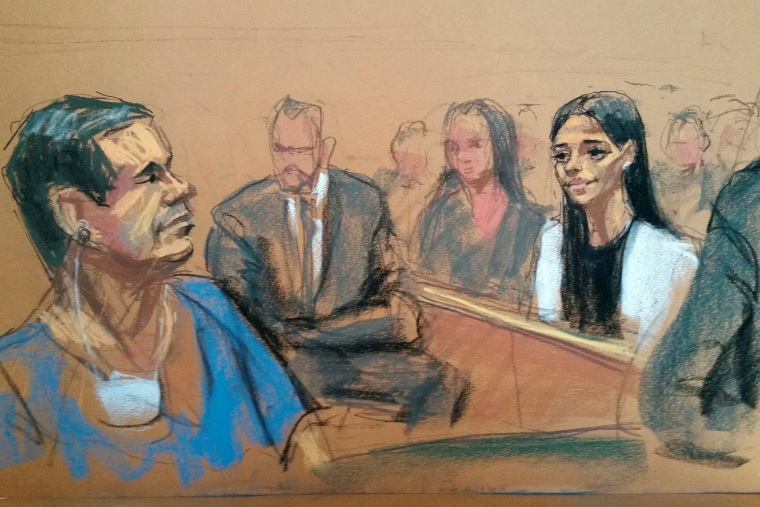 A sketch shows El Chapo Guzman and his wife in court in Brooklyn on May 5, 2017.