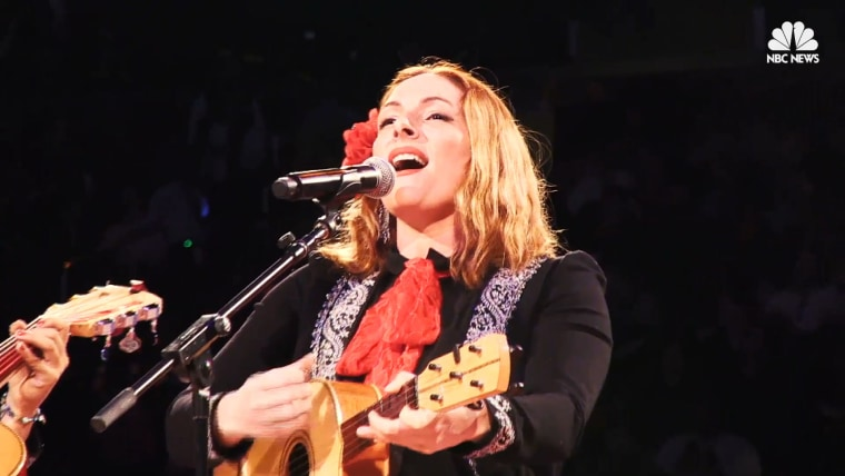 Shae Fiol and the members of Flor de Toloache perform at Madison Square Garden in New York.