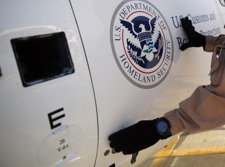 Image: A U.S. Department of Homeland Security - Immigration and Customs Enforcement helicopter.