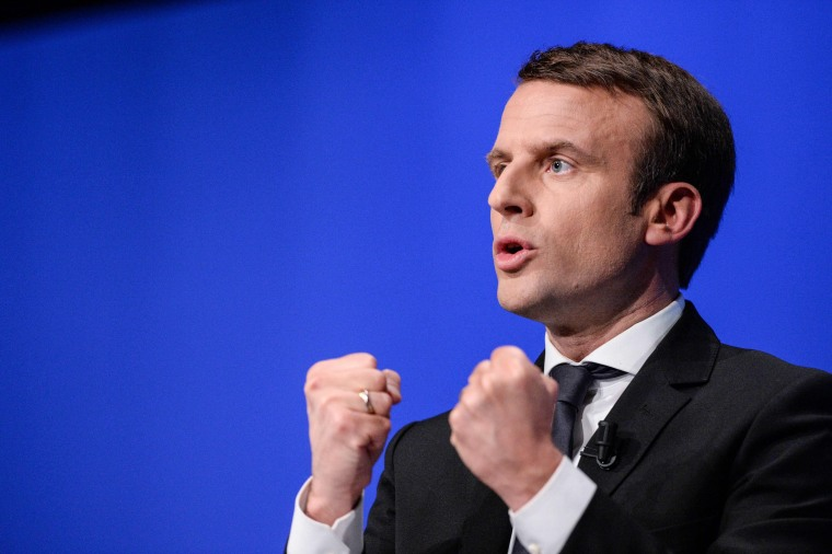 Emmanuel Macron pictured on the presidential campaign.